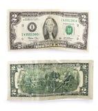 Alte Banknote mit zwei Dollars Stockfoto