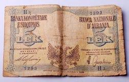 Alte Banknote von Albanien, 5 Lek Lizenzfreie Stockfotografie