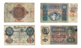 Alte Banknoten des Deutschen und Austro-Ungarns Stockbild