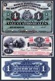 Alte Banknoten von 4 Reals Private Banks des Rabattes und von Zirkulation, 1 Peso der Bank von Quito Stockfotos