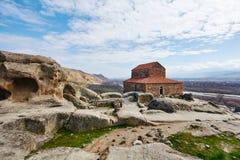 Alte Basilika an Uplistsikhe-Höhle Stockbilder