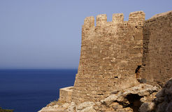 Alte Bastille in Lindos Stockfoto