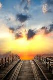 Alte Bauholz-Brücke Lizenzfreies Stockfoto