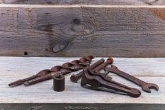 Alte Bauschlosserwerkzeuge Lizenzfreie Stockbilder