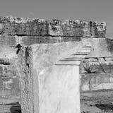 alte Bauspalte und das römische Tempelgeschichte-pamukkale Lizenzfreie Stockbilder