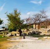 alte Bauspalte und römische die Tempelgeschichte pamukkal Stockbild