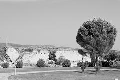alte Bauspalte und römische die Tempelgeschichte pamukkal Stockfotos