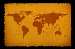 Alte befleckte Weltkarte Stockfoto