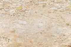 Alte beige Steinwand-Hintergrundbeschaffenheit Lizenzfreie Stockfotos