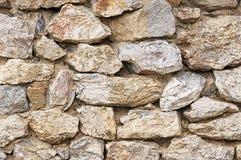 Alte beige Steinwand-Hintergrundbeschaffenheit Stockfoto