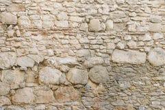 Alte beige Steinwand-Hintergrundbeschaffenheit Stockbilder