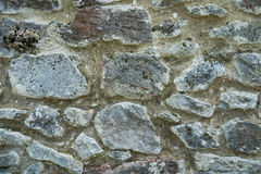 Alte beige und graue Wand mit Steinmaurerarbeit mit Sprüngen, backgrou Lizenzfreies Stockfoto