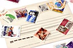 Alte benutzte Briefmarken Stockbilder