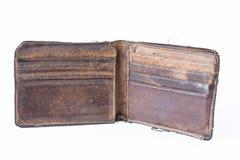 Alte benutzte Geldbörse lokalisiert auf weißem Hintergrund Stockbilder
