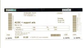 Alte benutzte Karte für das Konzert Lizenzfreie Stockfotos