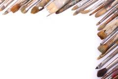 Alte benutzte Malerpinsel Stockbilder