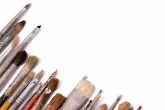 Alte benutzte Malerpinsel Lizenzfreies Stockfoto