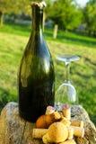 Alte benutzte Rebkorken, Apfelweinflasche und Glas Lizenzfreies Stockbild