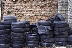 Alte benutzte Reifen auf Lager für die Wiederverwertung an der Wand des roten Backsteins Stockbilder