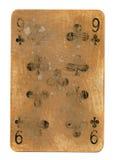 Alte benutzte Spielkarte von Vereinen mit Nr. 9 Stockbilder