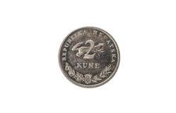Alte benutzte und getragene heraus kuna 2 Münze Stockbild