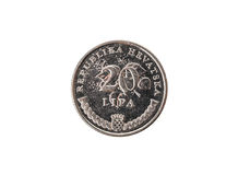 Alte benutzte und getragene heraus lipa 20 Münze Lizenzfreie Stockfotos