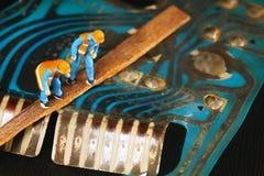 Alte benutzte und schmutzige Leiterplatte Stockfoto