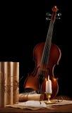 Alte benutzte Violine mit antiken Feldern Stockbilder