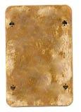Alte benutzte vith Spaten unterzeichnet die Spielkarte, die auf Weiß lokalisiert wird Stockbild
