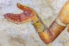 Alte berühmte Wandbildfreskos bei Sigirya Sri Lanka Lizenzfreie Stockbilder