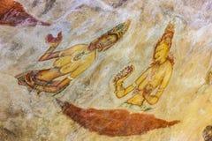 Alte berühmte Wandbildfreskos bei Sigirya Sri Lanka Lizenzfreies Stockfoto