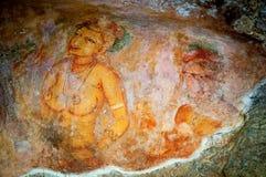 Alte berühmte Wandfreskos bei Sigirya Sri Lanka Lizenzfreie Stockfotos