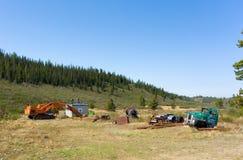 Alte Bergwerksausrüstung am Otternebenfluß, atlin Lizenzfreies Stockbild
