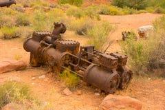 Alte Bergwerksausrüstung an Schutze ` s Fähre, Arizona Stockbild