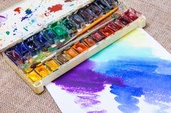 Alte Berufsaquarellfarben Lizenzfreie Stockfotos