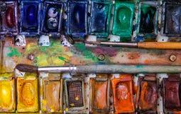 Alte Berufsaquarellfarben Stockbilder