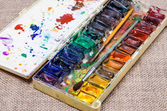 Alte Berufsaquarellfarben Stockfoto