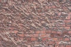 Alte Beschaffenheit einer Backsteinmauer und des Hintergrundes Stockbild
