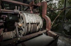alte Beschriftungsmaschine in der Fabrik Lizenzfreies Stockbild