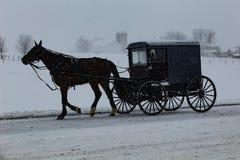 Alte Bestellungs-amischer Buggy reist durch Schnee Lizenzfreies Stockbild