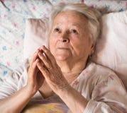 Alte betende Frau Stockbilder