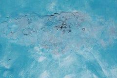 Alte Betonmauer gemalt mit blauer Farbe Lizenzfreie Stockfotos
