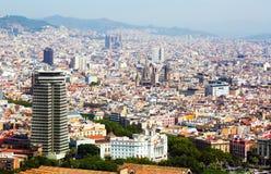 Alte Bezirke in Barcelona vom Hubschrauber Stockfoto