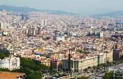 Alte Bezirke in Barcelona vom Hubschrauber Katalonien, Spanien Lizenzfreies Stockbild