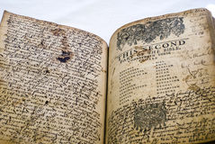 Alte Bibelinhaltsseite mit umfangreichen Anmerkungen Stockfotografie