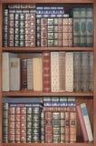 Alte Bibliothek, Abdeckungsbücher auf Regalen Stockfoto