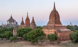 Alte birmanische Ziegelsteintempel in den grünen Bäumen an Stockfotografie