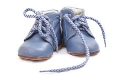 Alte blaue Babyschuhe Lizenzfreies Stockbild