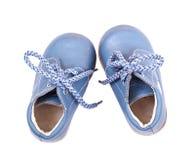 Alte blaue Babyschuhe Stockfotografie