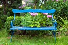 Alte blaue Bank am Garten Stockbild